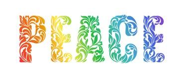 Paz Fonte decorativa feita nos redemoinhos e em elementos florais ilustração stock
