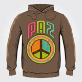 Paz - Peace spanish text - Vector hoodie print design with Peace and Love Icon Royalty Free Stock Image