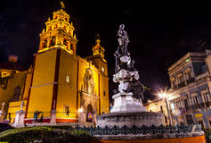 Paz Peace Statue Our Lady Basilica Night Guanajuato Mexico. Our Lady of Guanajuato Paz Peace Statu Night Guanajuato, Mexico Statue donated To City by Charles V Royalty Free Stock Photos