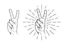Paz, sinal da mão da vitória ilustração do vetor