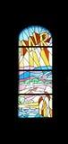 Paz, ventana de la iglesia del vitral en la iglesia parroquial de San Jaime en Medugorje Fotografía de archivo