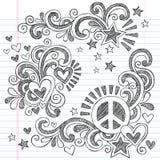 Paz y amor de nuevo al ejemplo incompleto del vector de los garabatos del cuaderno de la escuela Fotos de archivo