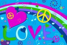 Paz y corazones del amor Imagen de archivo libre de regalías