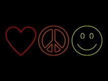Paz y felicidad de neón del amor Imagen de archivo