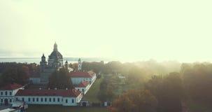 Pazaislis monaster i kościół, trutnia widok z lotu ptaka zbiory wideo