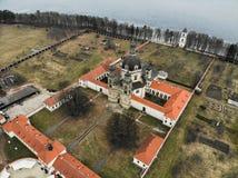 Pazaislis monasteru widok z lotu ptaka w Kaunas, Lithuania zdjęcia stock