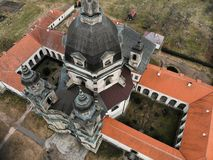 Pazaislis monastery aerial view in Kaunas, Lithuania royalty free stock images