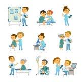Paziente all'ufficio di medico s Illustrazione della medicina di vettore illustrazione di stock
