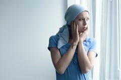 Paziente con preoccuparsi del cancro immagine stock