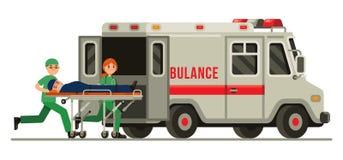 Paziente di trasporto del paramedico di emergenza dell'ambulanza nell'illustrazione piana di vettore di stile della barella fotografia stock libera da diritti