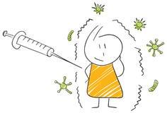 Paziente divertente del colpo di vaccinazione di influenza dell'illustrazione di stickman Immagini Stock Libere da Diritti