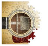 Pazienza e passione da imparare giocare la chitarra graduale - immagine di concetto nella forma di puzzle fotografia stock