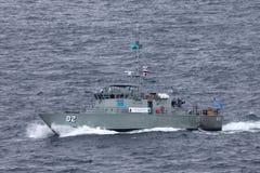 Pazifischer Forum-Klassenpatrouillenboot FSS Mikronesien FSM02 vom mikronesischen Regierungssegeln aus Sydney Harbor heraus stockfotos