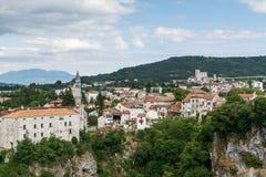 Pazin Castle Montecuccoli, panorama of old town districts, Croatia. Pazin Castle Montecuccoli, panorama of old town districts, and canyon Pazinska Jama in Pazin Stock Photo