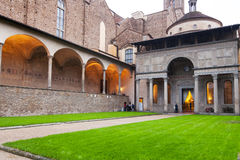 Pazzi Chapel in Arnolfo cloister of Basilica. FLORENCE, ITALY - NOVEMBER 6, 2016: Pazzi Chapel in Arnolfo cloister of Basilica di Santa Croce Basilica of the Royalty Free Stock Photography