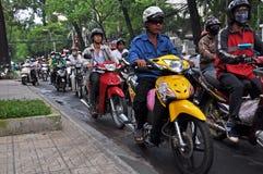 Pazzia del motociclo a Ho Chi Minh City, Vietnam Fotografie Stock Libere da Diritti