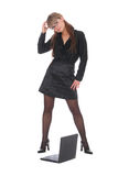 Pazzled business woman Stock Images