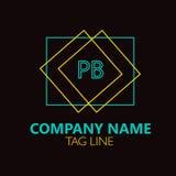 Pb-Brief Logo Design Stock Afbeelding