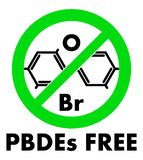 PBDEs free icon. Polybrominated diphenyl ethers chemical molecule and letters Br and O (chemical symbols for Bromine and stock illustration