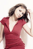 Pbeautiful young woman in red dress Stock Photography