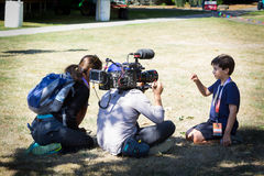 PBS Nova interviewing boy after eclipse royalty free stock images