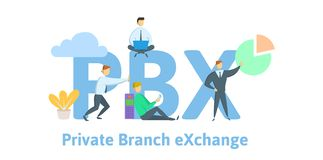 PBX, private branch exchange. Concept with keywords, letters and icons. Flat vector illustration on white background. vector illustration