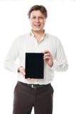 PC ταμπλετών εκμετάλλευσης επιχειρησιακών ατόμων με τη μαύρη οθόνη Στοκ Εικόνες