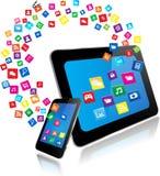 PC ταμπλετών και έξυπνο τηλέφωνο με τα apps Στοκ Εικόνες