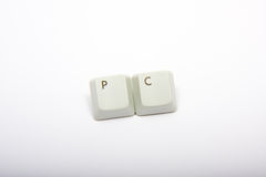 PC. Spelled out using keys from a computer keyboard Stock Photos