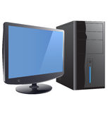 PC. Set of vector computer and monitor Stock Photos