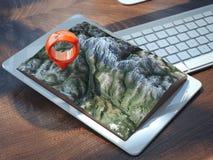 PC blanca de la tableta con paisaje y el geotag representación 3d ilustración del vector