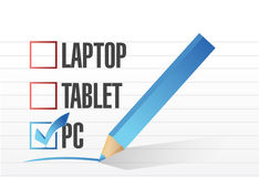 Pc checkbox selected over other technology tools. Royalty Free Stock Image