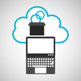 Pc cloud gear digital web. Vector illustration eps 10 Stock Photo