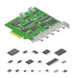 PC componente de la placa de circuito electrónica del ordenador y opinión isométrica de la pieza de los elementos Vector ilustración del vector