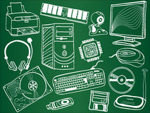 Pc components and devices on school board. Pc components and peripheral devices sketches on school board. Vector illustration Stock Photos