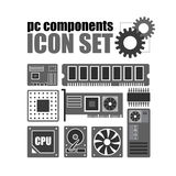 Pc components icon set. PC service Royalty Free Stock Photos
