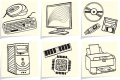 Pc components and peripherals on memo sticks. Pc components and peripheral devices sketches on yellow memo sticks. Vector illustration Stock Images
