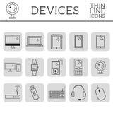 In PC, computer, de mobiele gadgets en pictogrammen en de knopen van de apparatenlijn Grafische vectorsymbolen en elementen van t Royalty-vrije Stock Foto