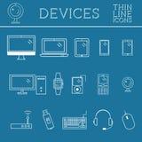 In PC, computer, de mobiele gadgets en pictogrammen van de apparatenlijn, mono vectorsymbolen en elementen van technologieën Kan  Royalty-vrije Stock Afbeelding