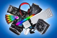 Free Pc Computer Hardware Components Electronics Collage. Cpu Micro Processor Graphics Card Power Supply Ddr Ram Headset Vr Glasses Stock Photography - 182195752