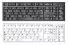 PC computer keyboard. Black and white vector PC keyboards with text and symbols. Isolated on white Royalty Free Illustration