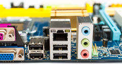 PC computer motherboard rear ports Royalty Free Stock Images