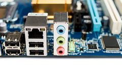 PC computer motherboard rear ports Royalty Free Stock Photography