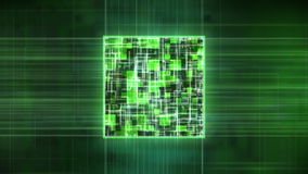PC Computer Processor Power on Green Loop stock footage