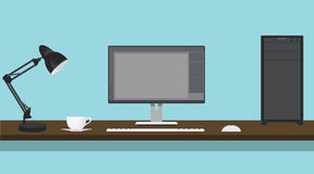Pc computer work desk illustration  Stock Photos