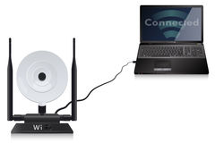 PC Connected to WIFI Antenna Stock Image