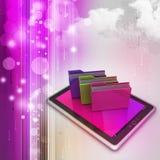 PC da tabuleta com pasta de arquivos Imagem de Stock Royalty Free