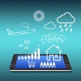 PC da tabuleta com uma comunicação da nuvem Fotos de Stock