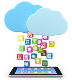 PC da tabuleta de Digitas com ícones do app Imagens de Stock