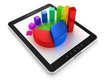 PC da tabuleta do computador com gráficos de negócio coloridos Fotografia de Stock
